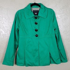 {Mossimo} Jade Green Button Up Coat Size S